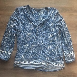 Lucky Brand Long Sleeve Blue Top w/ button front